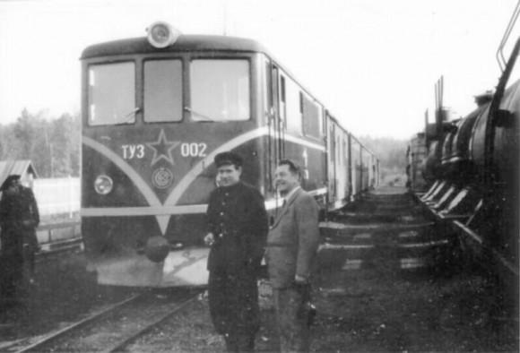 1957 год. Локомотив ТУ-002 в Туле на узкоколейных путях