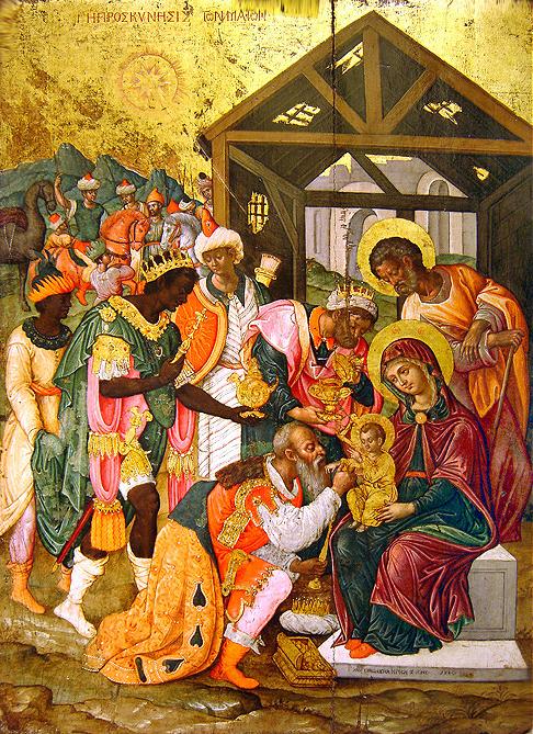 Поклонение волхвов. Византийская икона